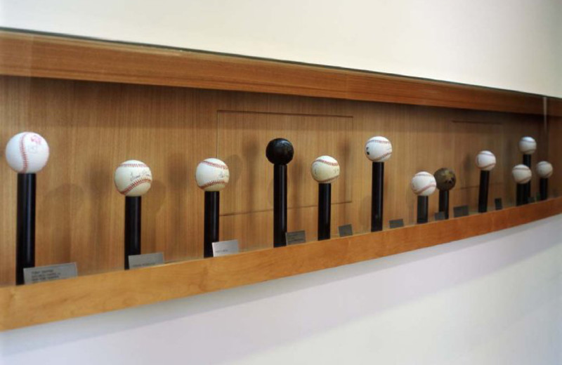 Baseball memorabilia decorate Omni San Diego Hotel.