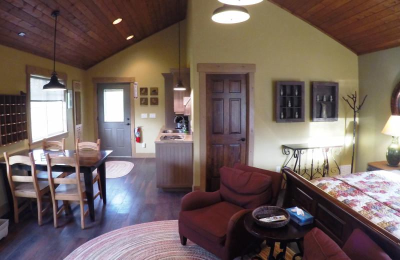 Guest cabin interior at Morrell Ranch.