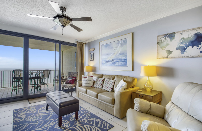 Rental living room at Gulf Coast Beach Getaways.