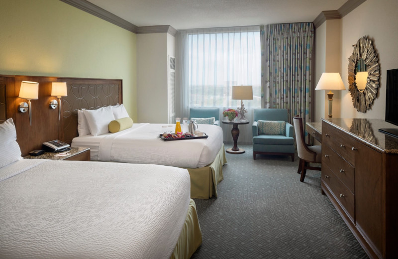 Guest room at Moody Gardens Hotel Spa & Convention Center.
