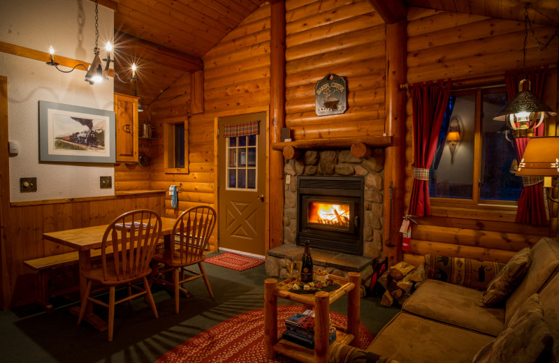 Cabin living room at Baker Creek Mountain Resort.
