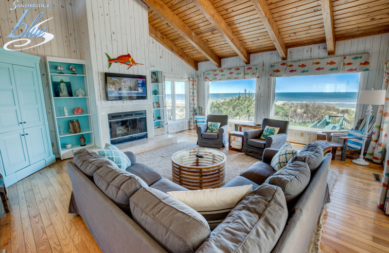 Rental living room at Sandbridge Blue Vacation Rentals.