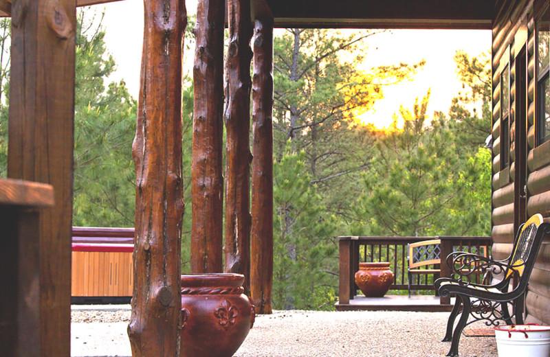 Rental porch at Hidden Hills Cabin Rentals.