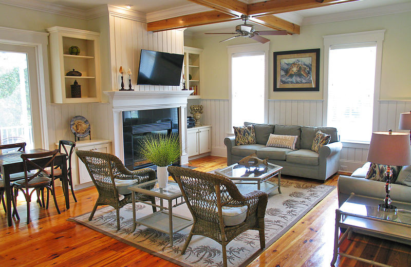 Rental living room at Exclusive Properties - Isle of Palms.