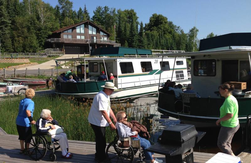 Boarding the houseboats at Rainy Lake Houseboats.