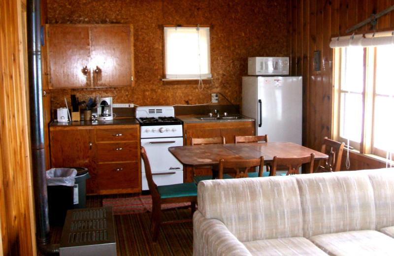 Cabin kitchen at Sunset Bay Resort.