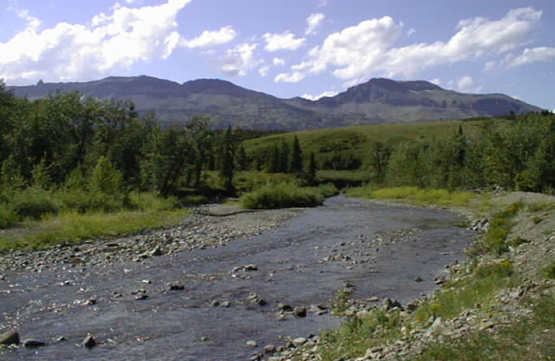 View of the Two Medicine River from Lodge at Rising Wolf Ranch.