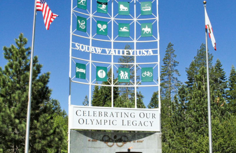 Olympic Valley Sign near the Red Wolf Lodge at Squaw Valley