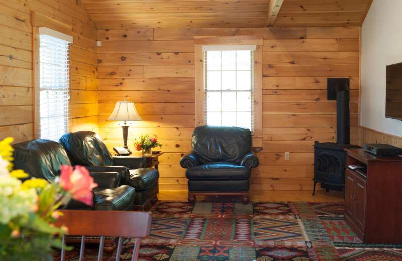 Cabin living room at Point Lookout.