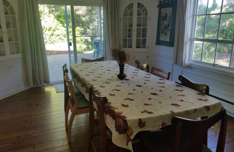 Rental dining room at Oceanfront Getaways.