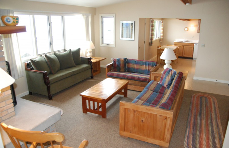 Cabin living room at Chimney Corners Resort.