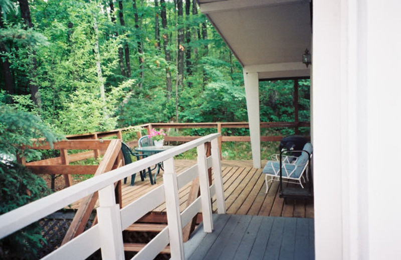 Cabin deck at Golden Rule Resort.