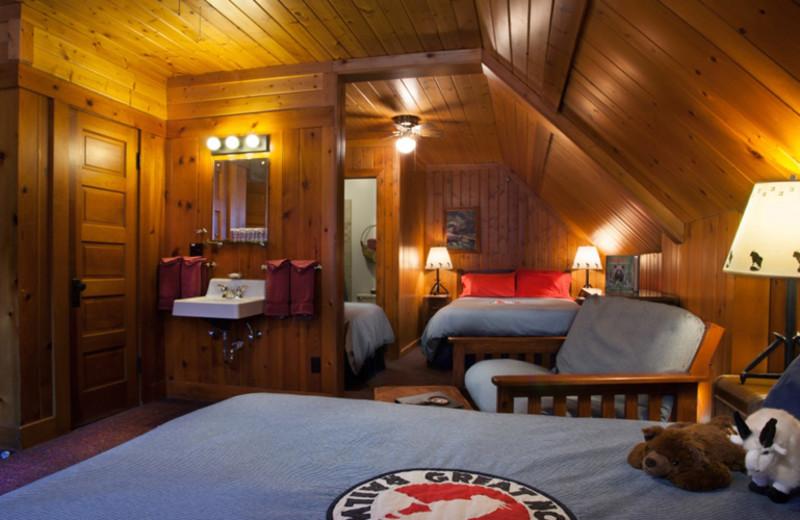 Guest room at Izaak Walton Inn.