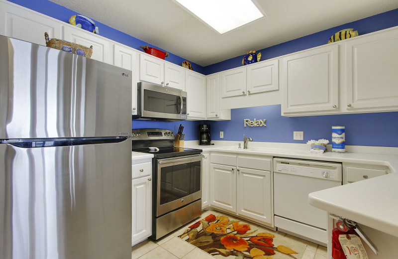 Rental kitchen at Gulf Coast Beach Getaways.