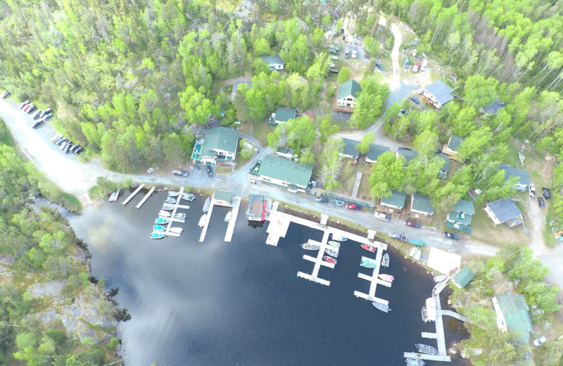 Aerial view of Dogtooth Lake Resort.