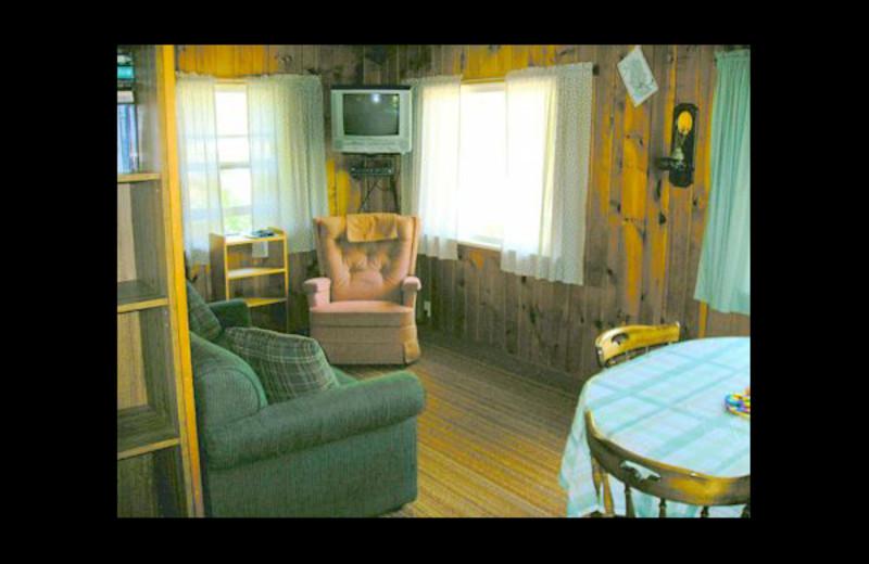 Cabin living room at Eagle Wing Resort.