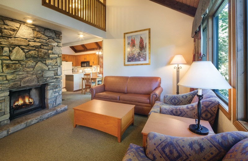 Guest room at Wyndham Vacation Resort at Fairfield Mountains.