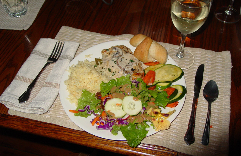 Dining at Kenai Riverside Lodge.