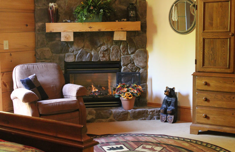 Guest fireplace at House Mountain Inn.