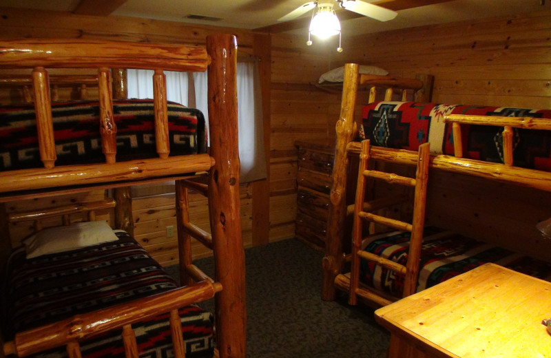 Cabin bunkbeds at Acorn Hill Resort.