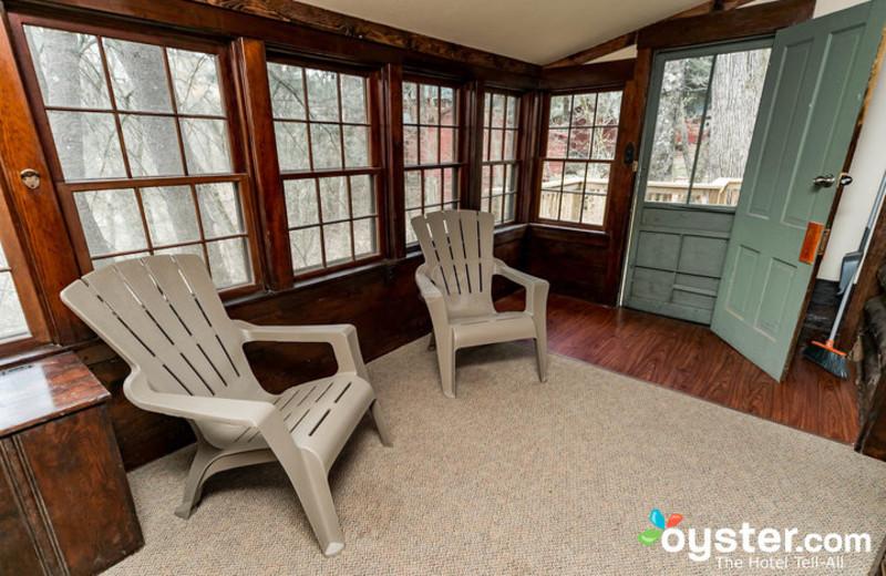 Cabin porch at Birchcliff Resort.