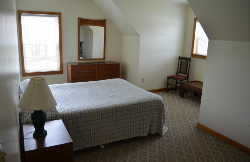 Apartment bedroom at Twin Pines Resort.