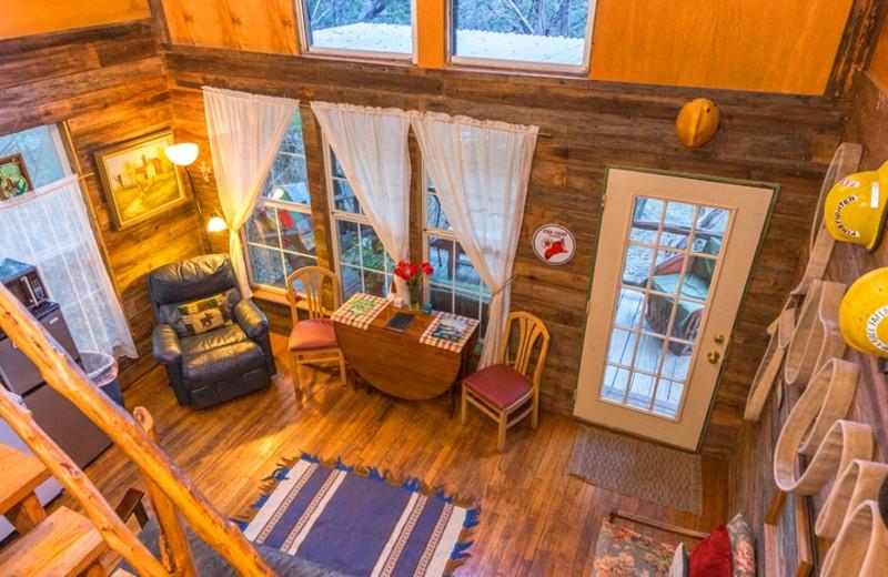 Cabin living room at Creekside Camp & Cabins.