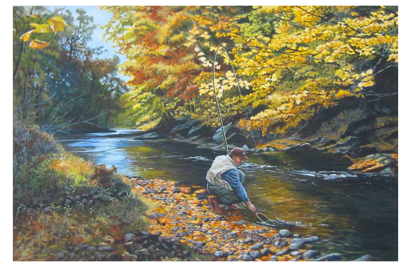 Fishing painting at Cabin at the Gorge.