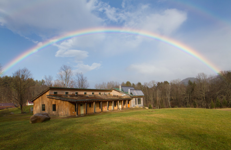 The year-round Eco-Lodge at Common Ground Center has eight guest rooms and a meeting room that accommodates up to 60.