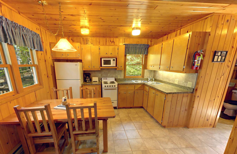 Cabin kitchen at Black Pine Beach Resort.