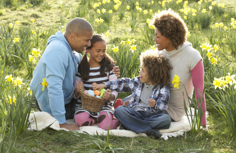 Family picnic at Creekside Camp & Cabins.