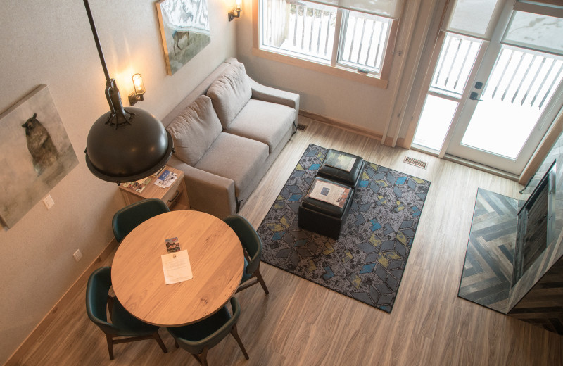 Guest living room at Tunnel Mountain Resort