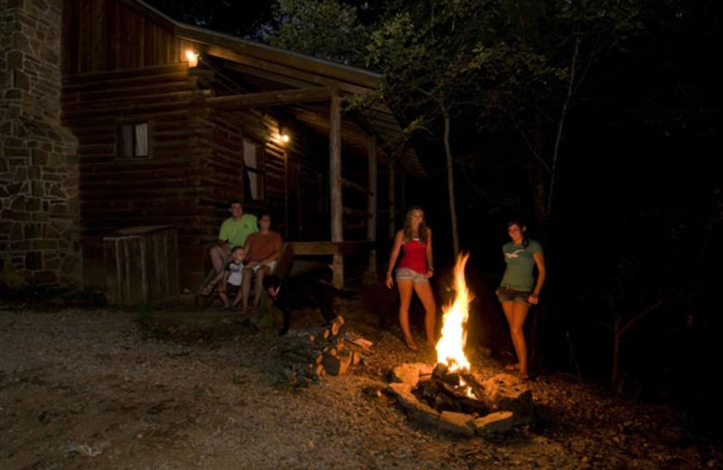 Campfire at Buffalo River Outfitters.