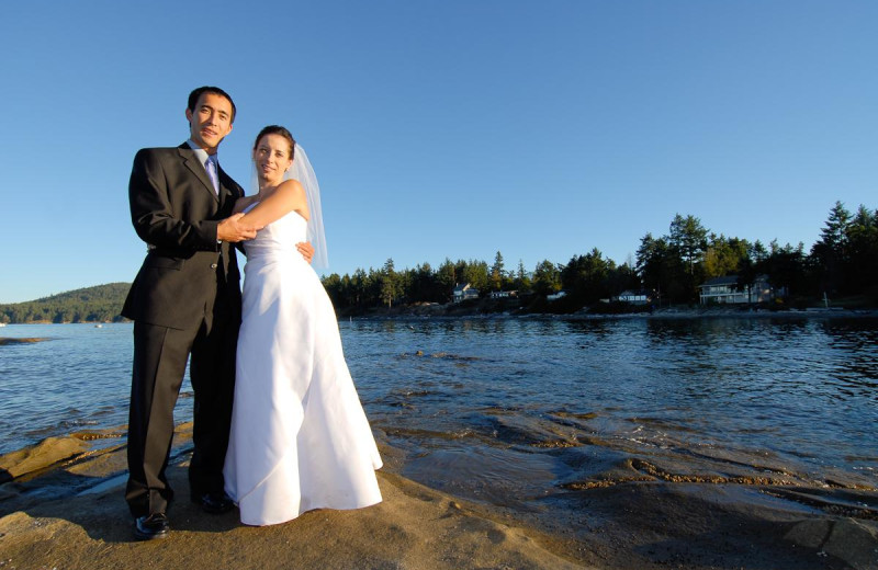 Wedding couple at Galiano Oceanfront Inn and Spa.