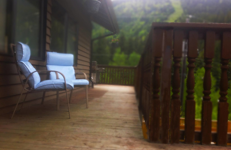 Deck view at Bear's Lair Lodge.