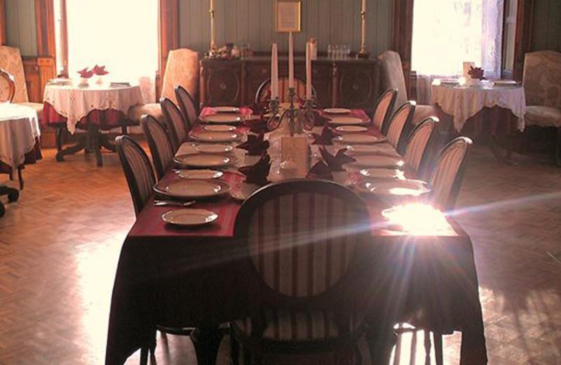 Dining room at Batcheller Mansion Inn Bed and Breakfast.