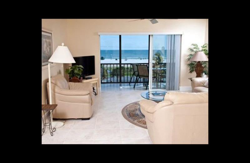 Vacation rental living room at Crescent Royale Condominiums.