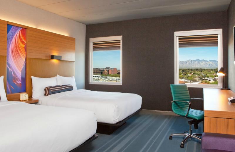 Guest room at Aloft Tucson University.