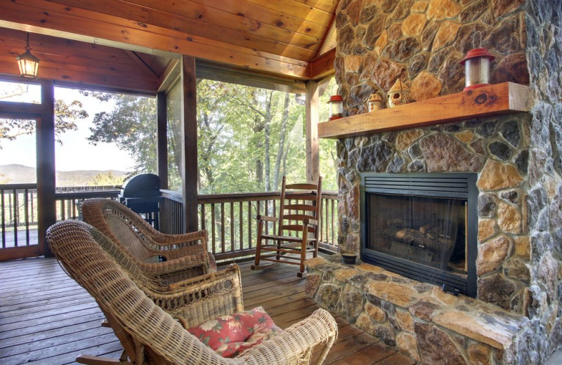 Rental patio at Nevaeh Cabin Rentals.