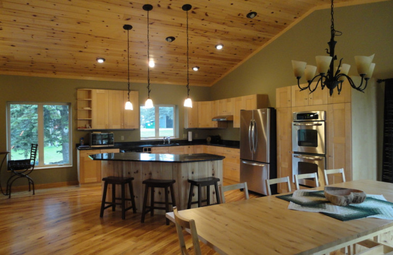 Cabin kitchen at Five Lakes Resort.