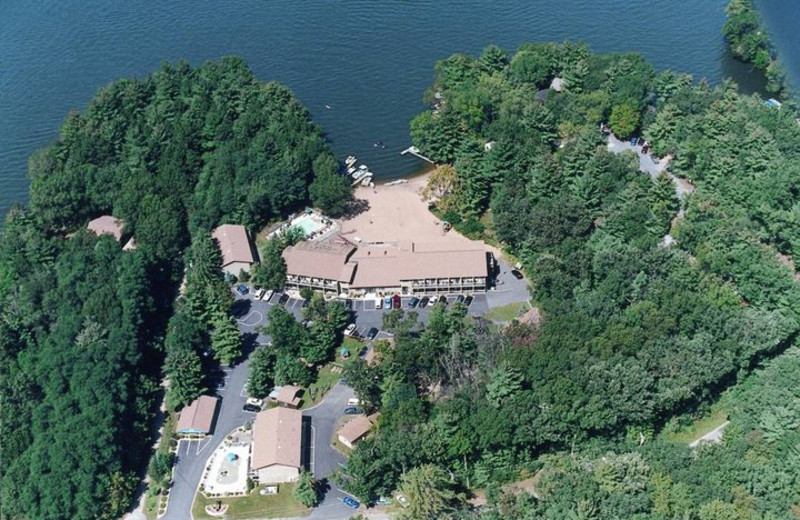 Aerial view of Baker's Sunset Bay Resort.