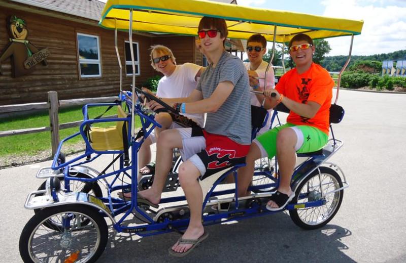 Four person bike at Yogi Bear's Jellystone Park Warrens.