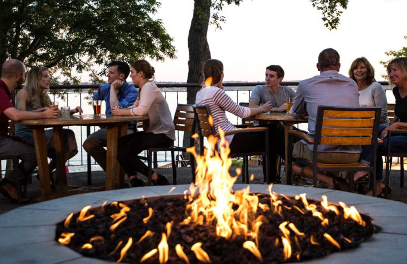 Fireside patio at Heidel House Resort.