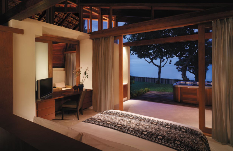 Guest room at Shangri-La's Fijian Resort.