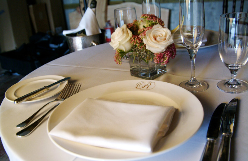Resort dishes and silverware at The Rhinecliff Hotel.