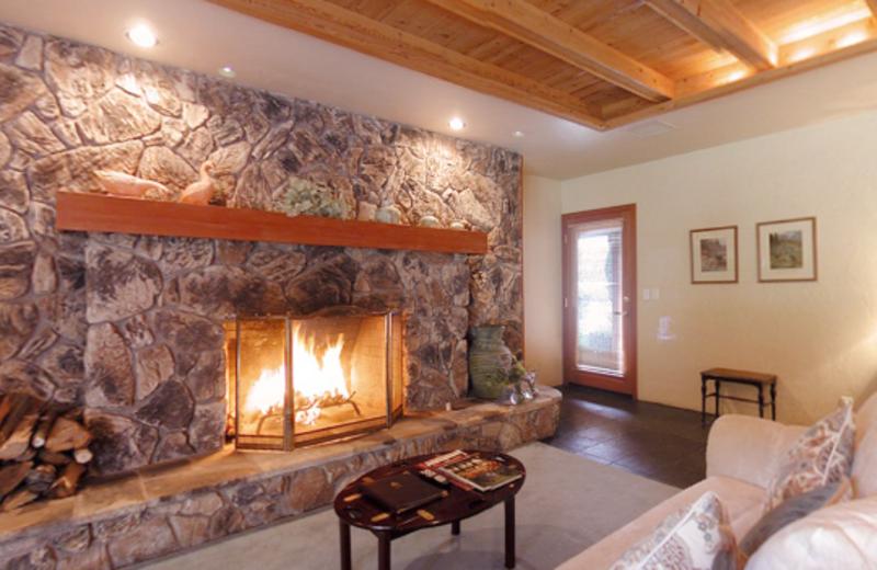 Honeymoon suite fireplace at Sonoma Coast Villa & Spa Resort.