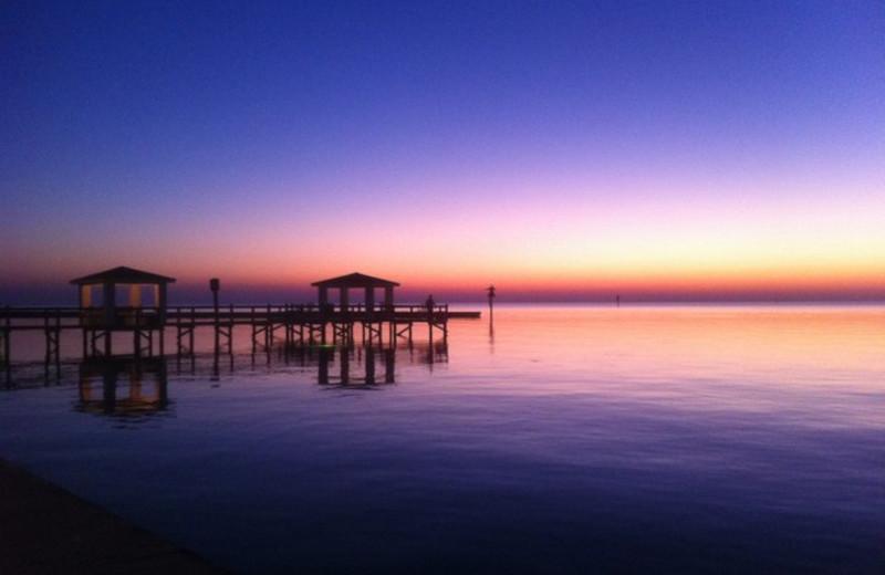 Sunset at The Lighthouse Inn at Aransas Bay.
