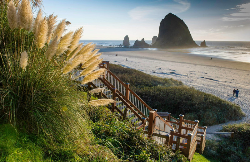 Stairs to beach at Hallmark Resort in Cannon Beach.