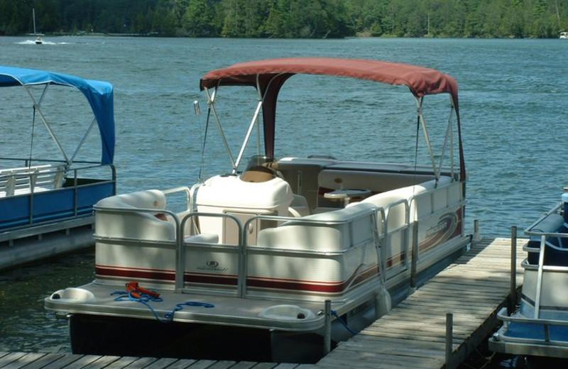 Pontoon boats at Clear Lake Resort.