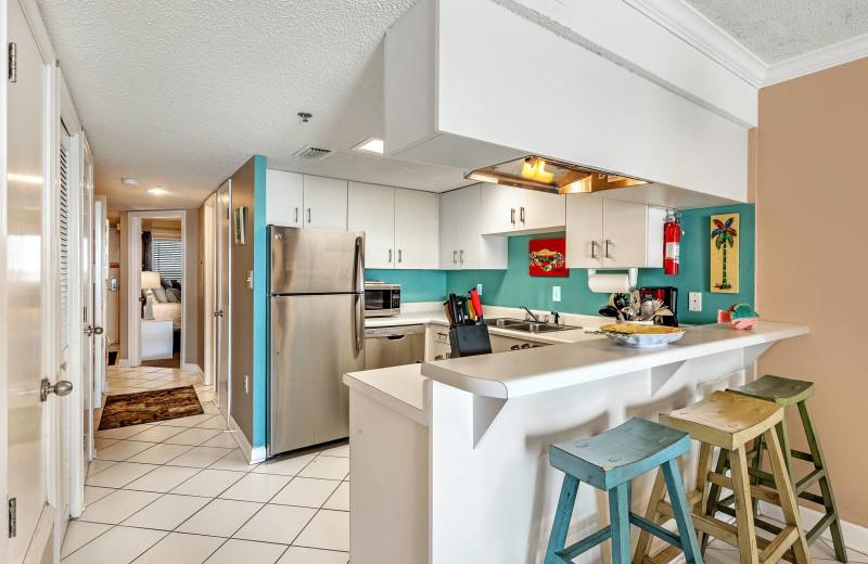 Rental kitchen at Bender Realty Vacation Rentals.